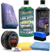 Kit Lavagem Lava Auto Monster Pq + Cera Cleaner Wax + Black Magic + Microfibra + Aplicador De Pretinho + Toalha De Secagem