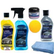 Kit Lavagem Lava Autos + Limpa Vidros + Super Cera + Microfibra + Arominha Frutal + Aplicador Espuma