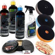 Kit Premium Polimento LPD + Boinas + Rev. Hologramas + Cera Finalizadora (9 itens)