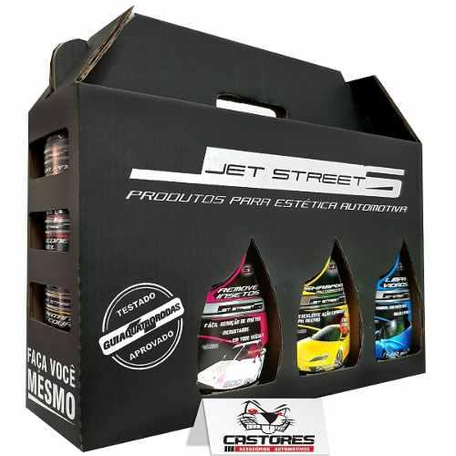 Kit Lavagem Jet Street Shampoo + Cera + Pretinho + 6 Itens