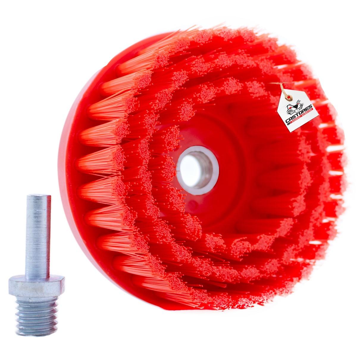 Escova Drill Detailer Cerdas Agressiva Vermelha