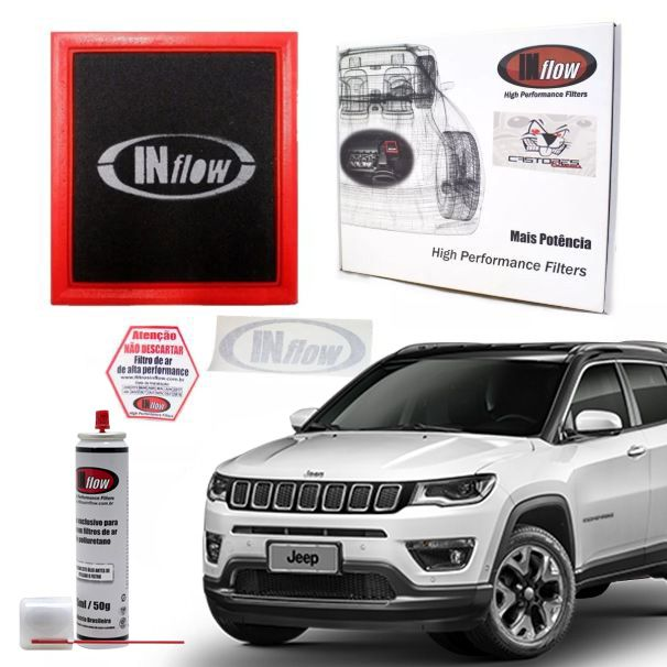 Filtro Ar Esportivo Inflow Jeep Renegade / Compass | Fiat Toro - Hpf8695