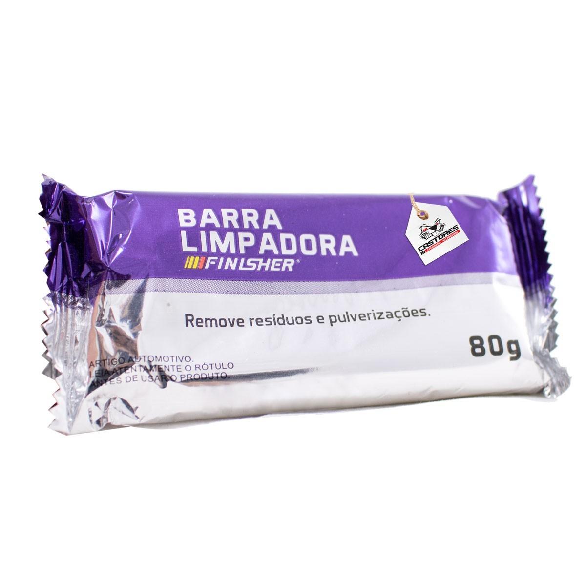 Kit Clay Bar Barra descontaminação 80g + Lubrificante Finisher