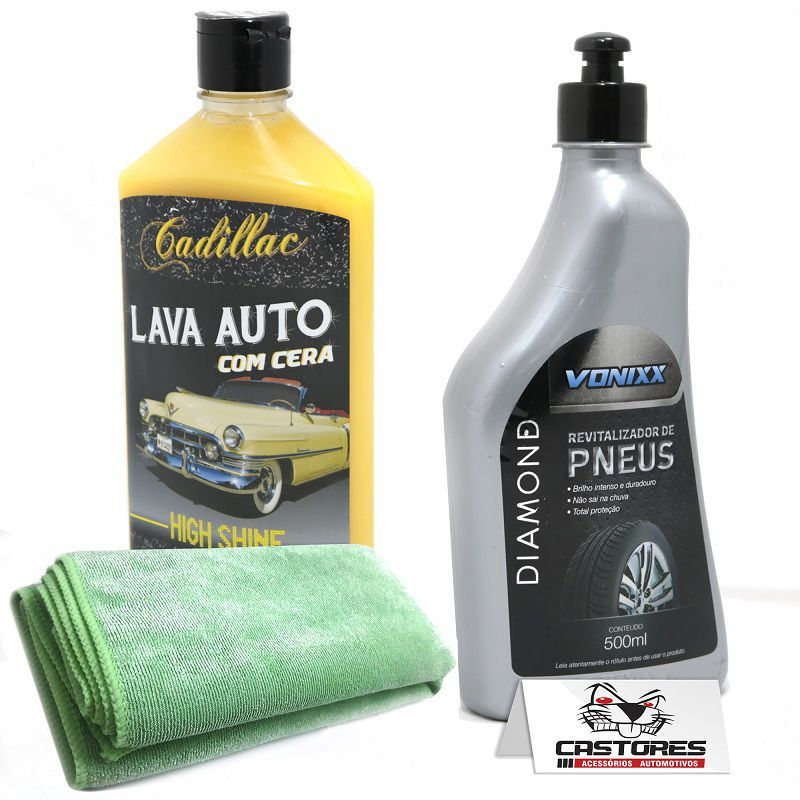 Kit Lavagem Carro E Moto Shampoo C/ Cera Revitalizador Pneus