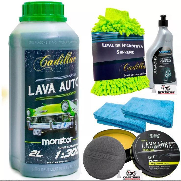 Kit Lavagem Lava Auto Monster 2Lts, Luva Cadillac Supreme, Revitalizador Pneus Vonixx, 2 MIcrofibras e Cera Vonixx Carnauba