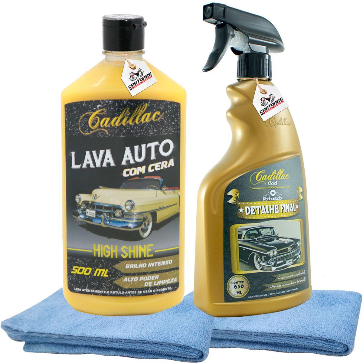 Kit Lavagem Shampoo Com Cera Cadillac + Detalhe Final + 2x Microfibra