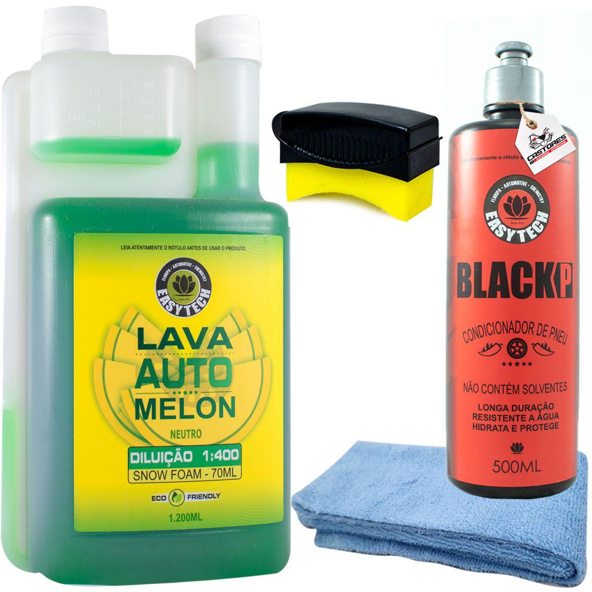 Kit Lavagem Shampoo Melon + Black P Easy Tech + Aplicador De Pretinho + Microfibra