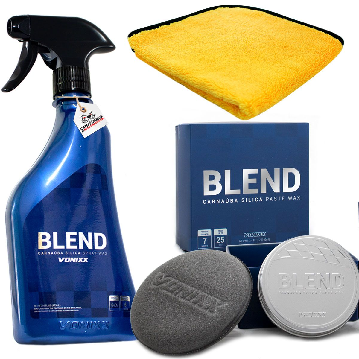 Kit Premium Para Enceramento Blend Spray + Pasta Vonixx + Toalha Amarela