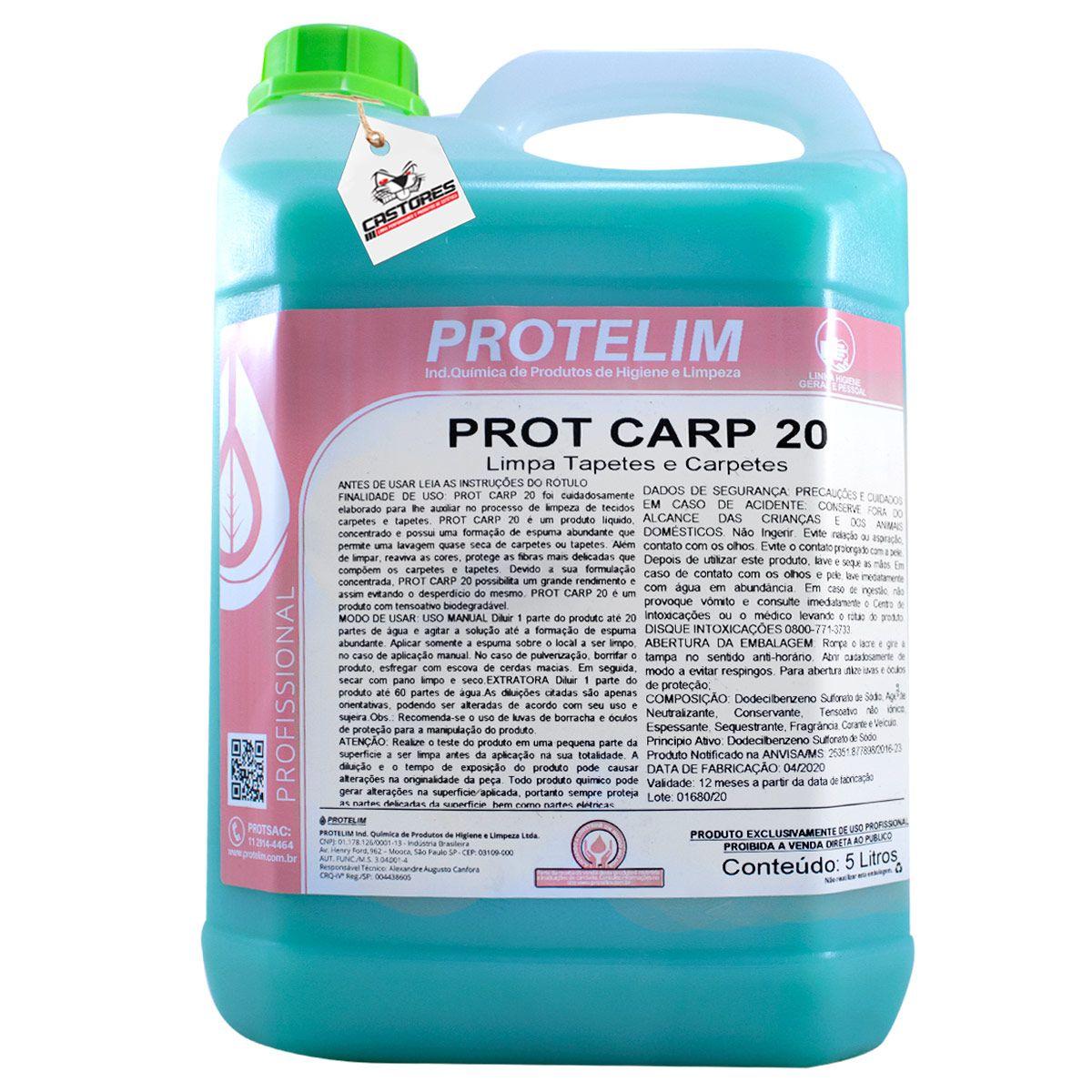 PROT CARP 20 LIMPA TAPETES E CARPETES 5L - PROTELIM