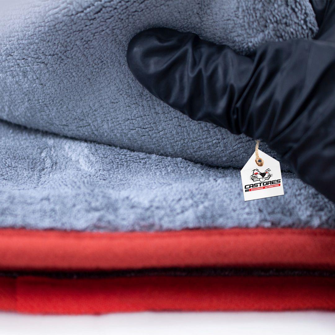 Toalha Do Microfibra Cinza Borda Vermelha 600gsm
