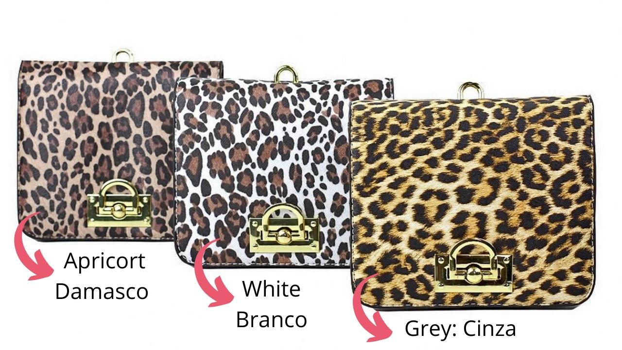 Bolsa Pequena Transversal Animal Print Grey
