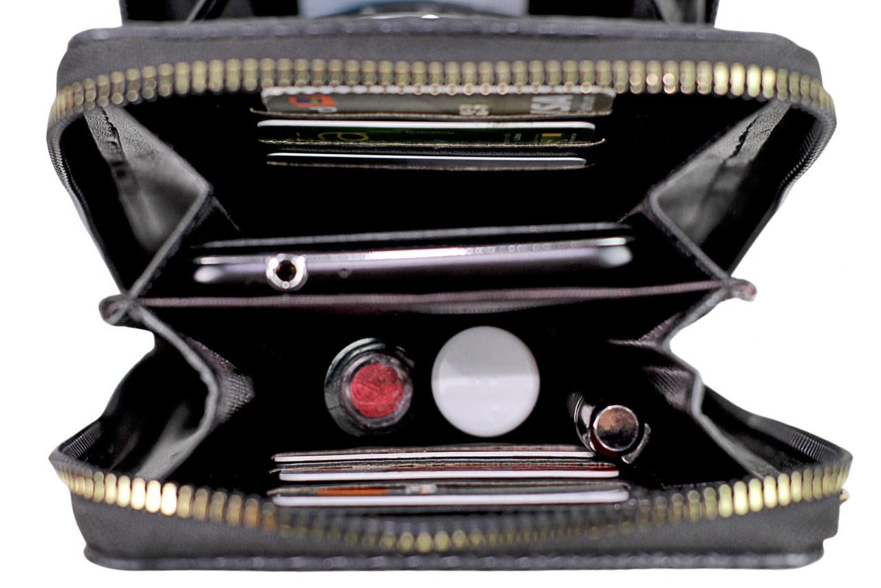 Bolsa Transversal Porta Celular Tipo Carteira Preta