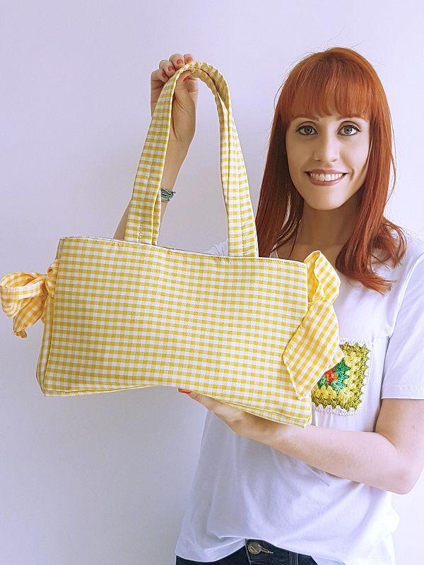 Bolsa Laço - Vichy Amarela