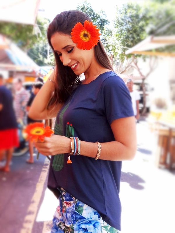 Camiseta Cactos - Marinho