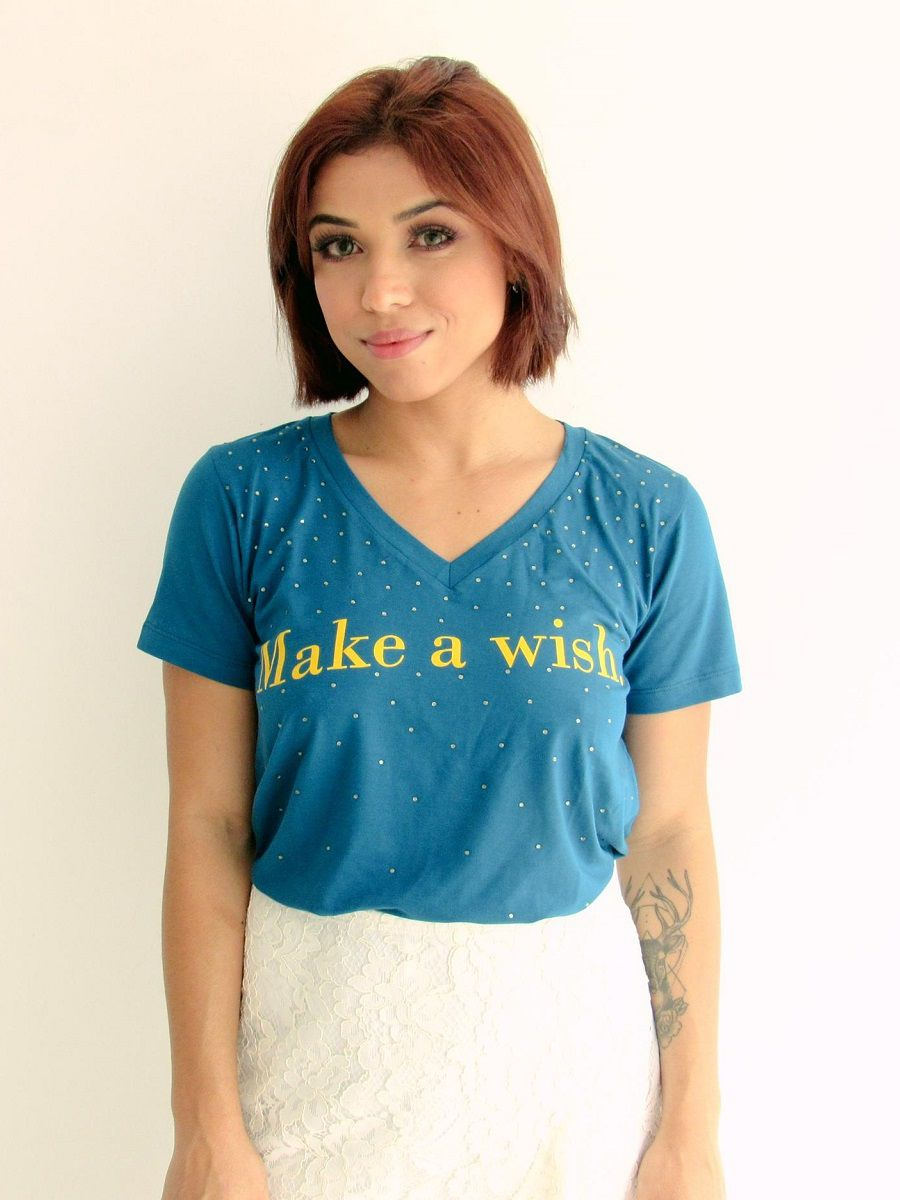 Camiseta Make a Wish - Azul