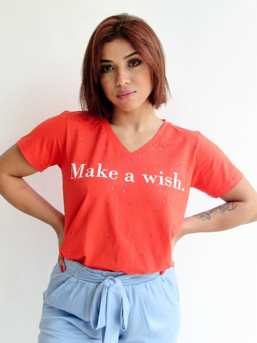 Camiseta Make a Wish - Vermelha Alaranjado