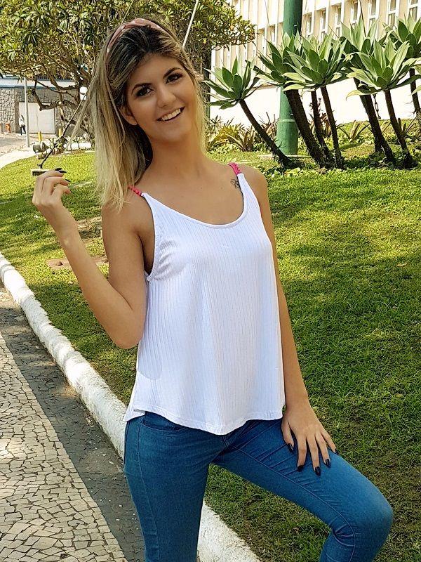 Camiseta Pompom - Branca / Alça Rosa