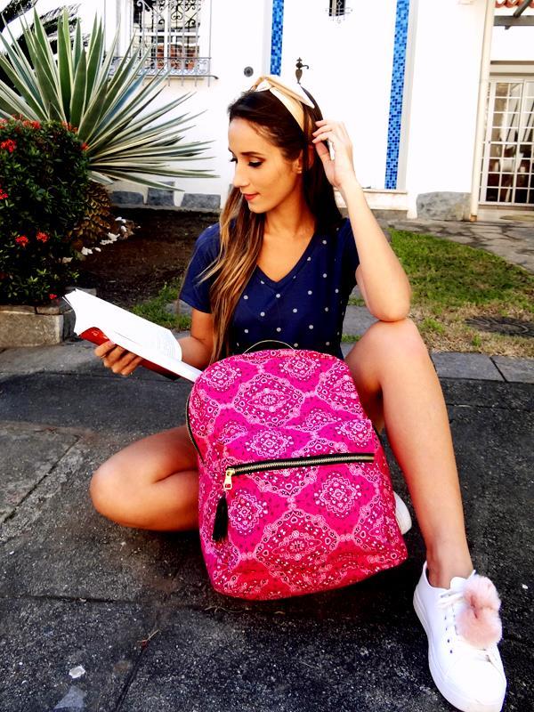 Mochila Carola -  Bandana  Rosa