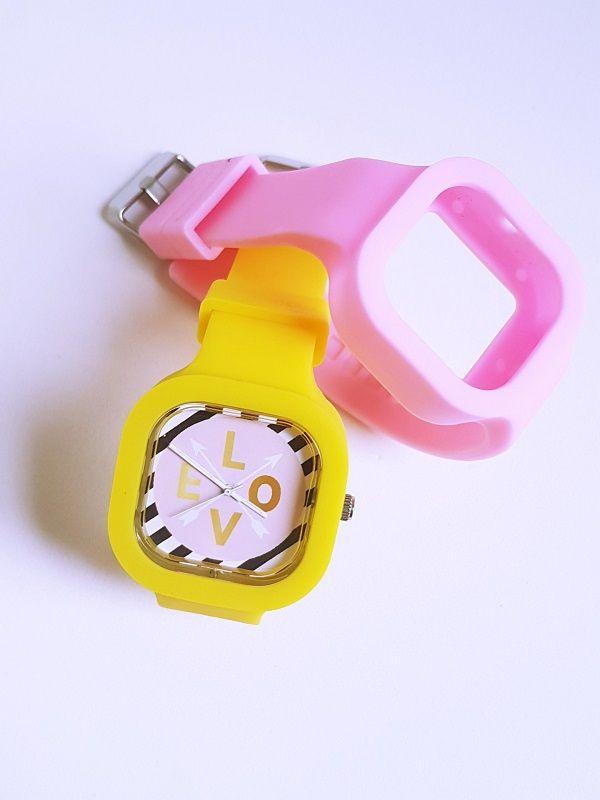 Relógio Love - Kit Amarelo e Rosa