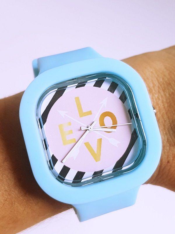 Relógio Love - Kit Rosa e Azul Claro