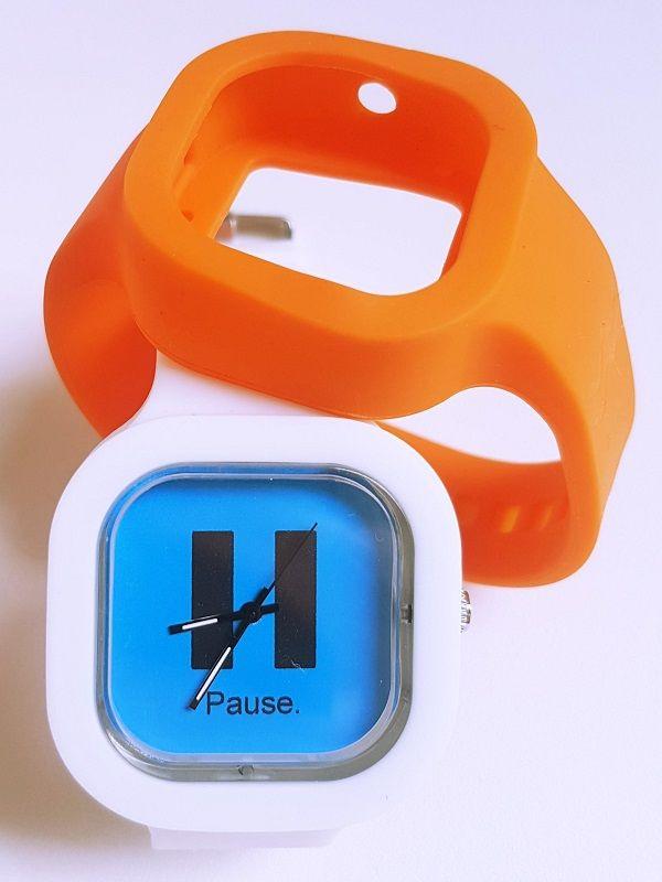 Relógio Pause - Kit Laranja e Branco