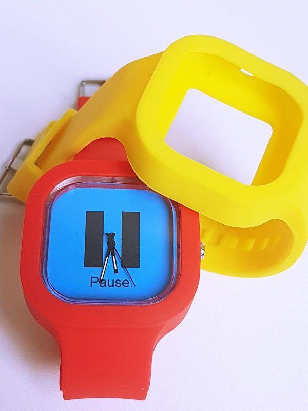 Relógio Pause - Kit Vermelho e Amarelo