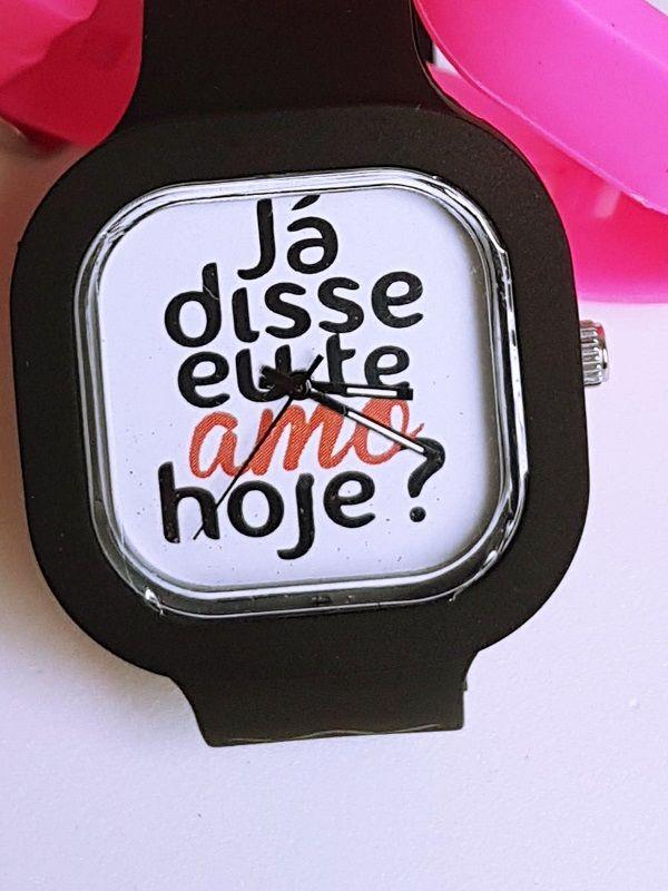 Relógio Te Amo - Kit Rosa e Preto