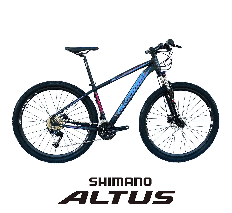 Bicicleta Aro 29 Tirreno 27v Shimano Altus Freio Hidráulico Susp Trava Ombro - Alfameq