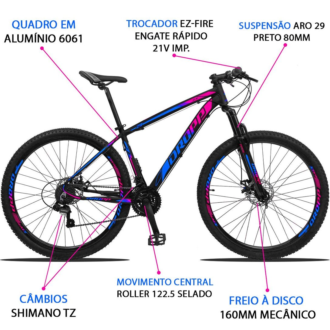 Bicicleta Feminina Z3 Aro 29 21v Cambios Shimano, PDV Aluminio - Dropp