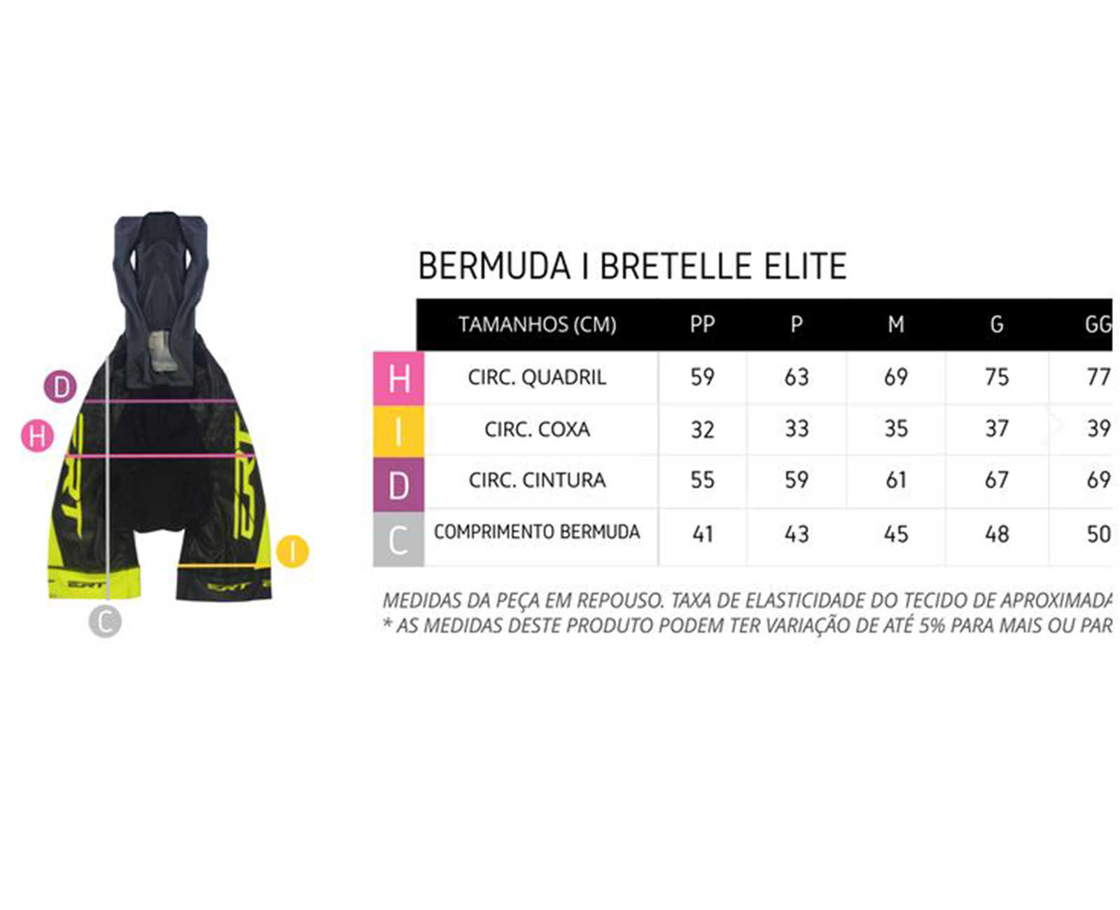 Bretelle Elite Racing Forro Gel Preto/Branco - ERT