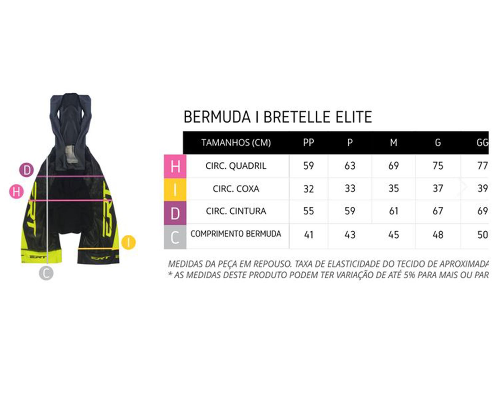 Bretelle Elite Team Forro Gel Preto/Amarelo - ERT