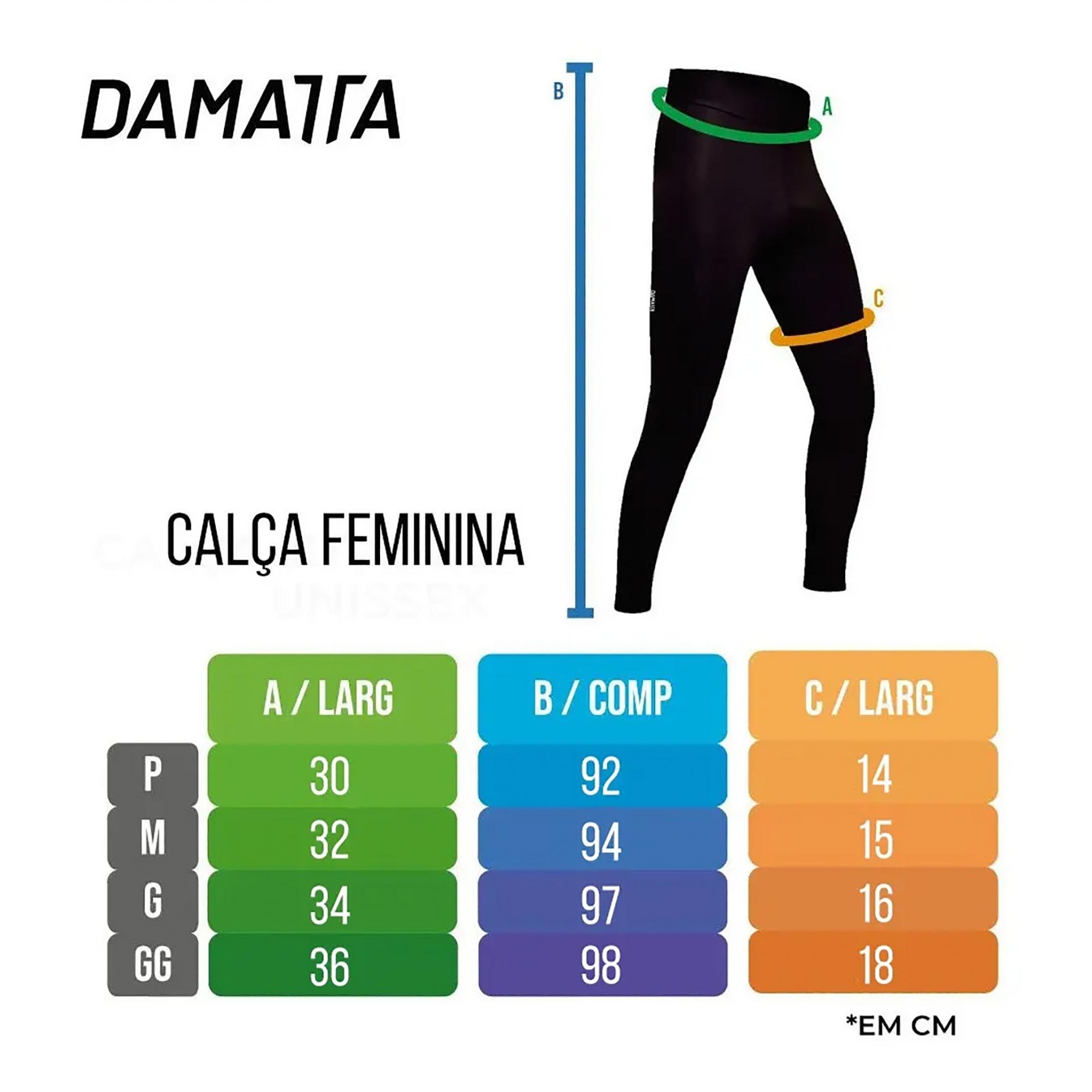 Calça Feminina Ciclismo Ride Preta Forro Gel - Damatta