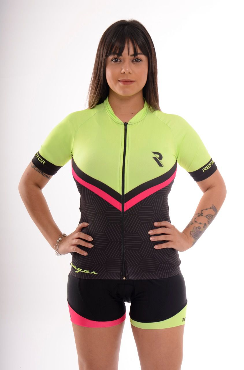 Camisa Ciclismo Feminina Vegas Amarela/Preta/Rosa - Refactor
