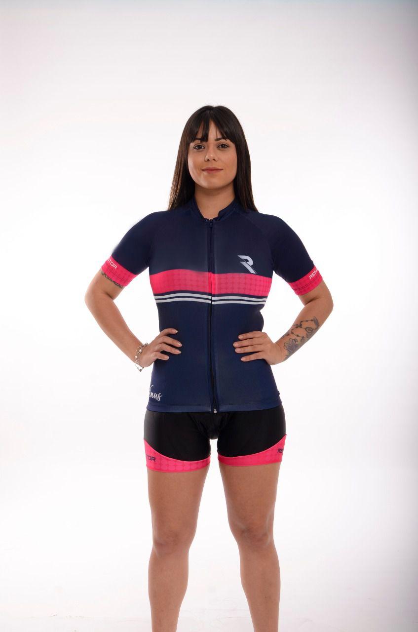 Camisa Ciclismo Feminina Vênus Azul/Rosa - Refactor
