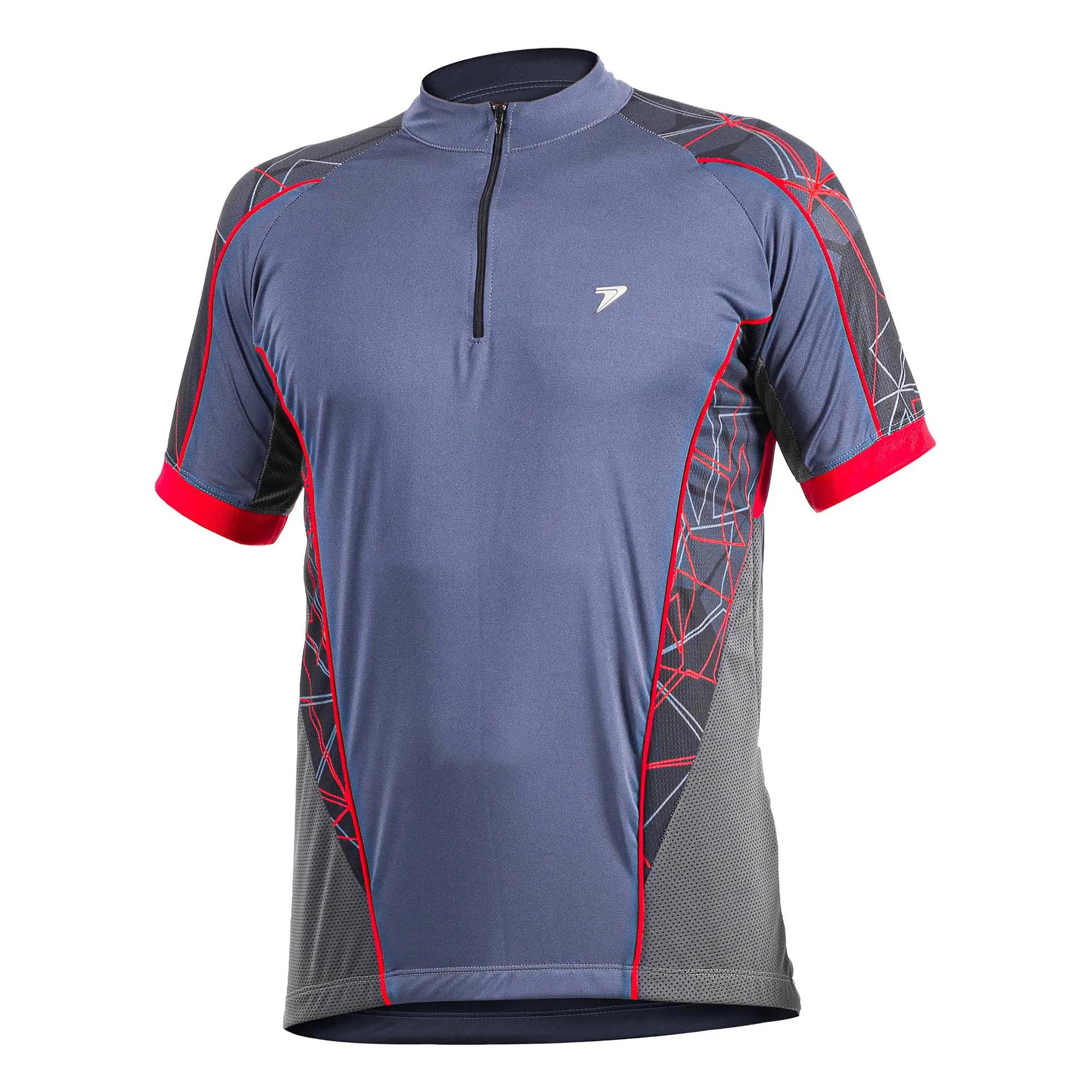 Camisa Ciclismo Fury Cinza/Preto/Vermelho  - Poker