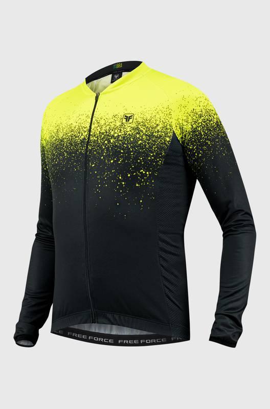 Camisa Ciclismo Masculina Manga Longa Preto/Amarelo Fluor Spatter- Free Force