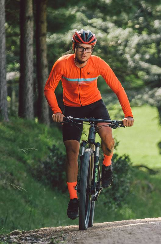 Camisa Ciclismo Masculina Manga Longa Vermelho Fluor Luminous - Free Force
