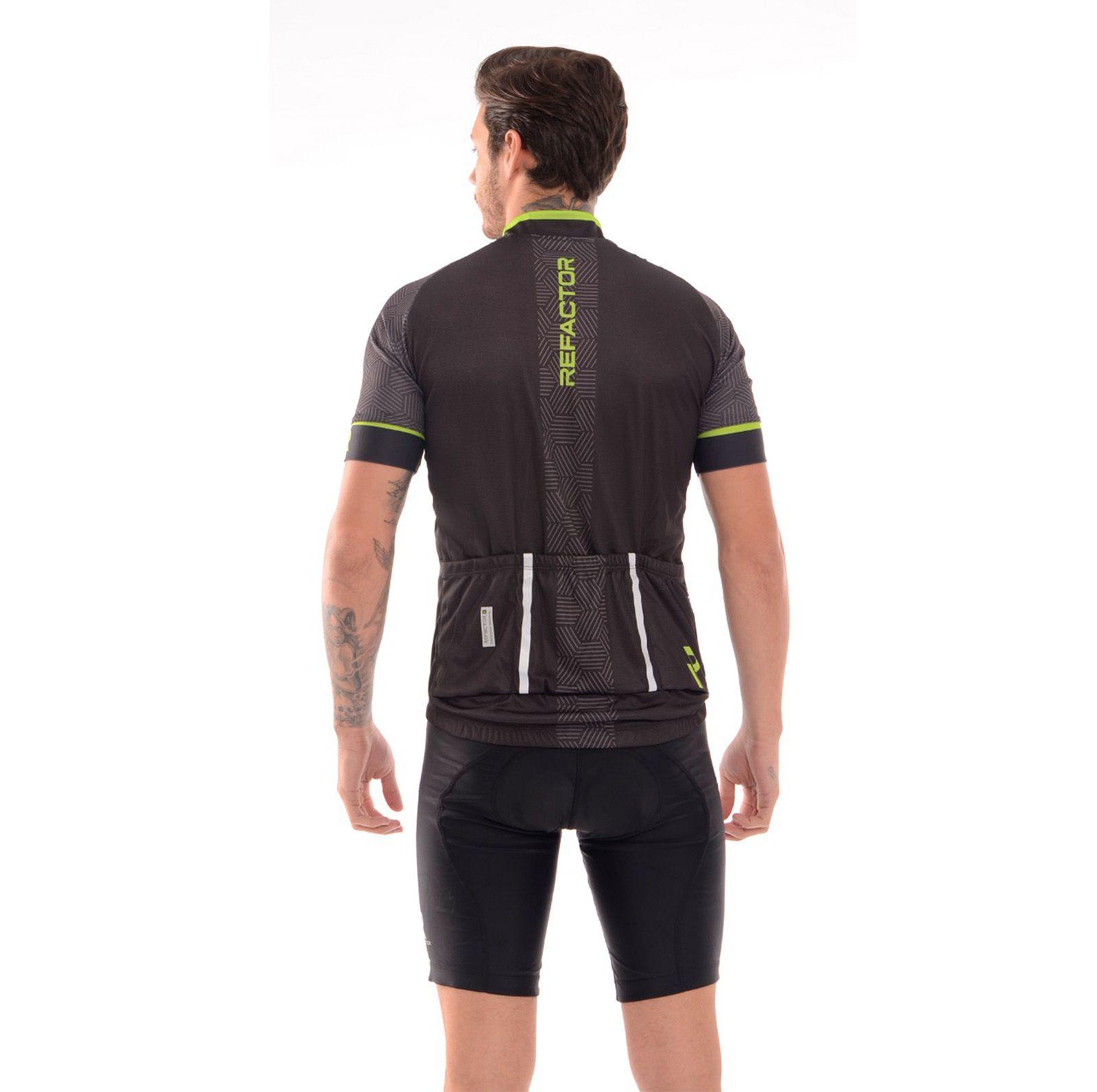 Camisa Ciclismo Masculina Strike Preto/Verde - Refactor