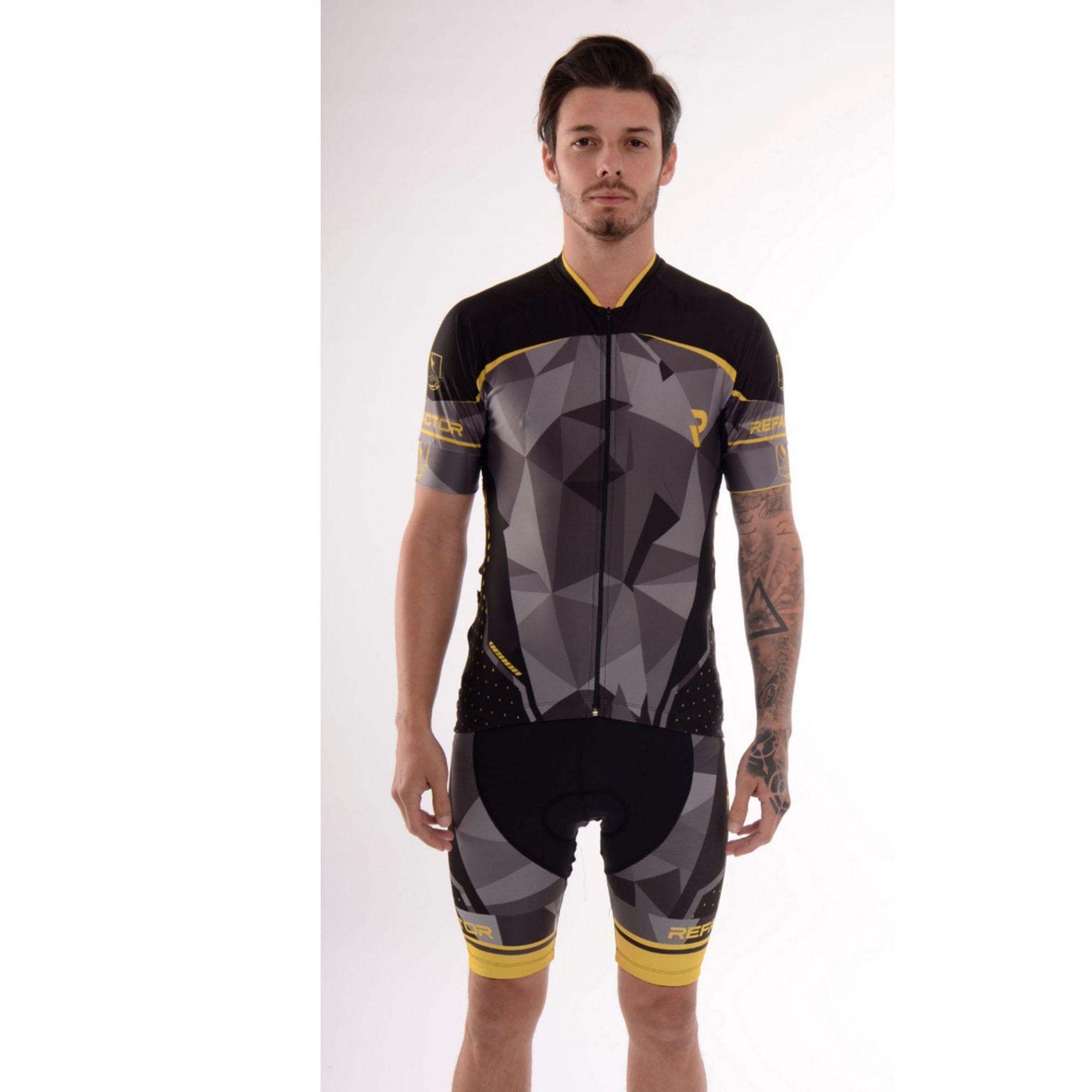Camisa Ciclismo Venon Preto/Amarelo c/ Proteção UV - Refactor