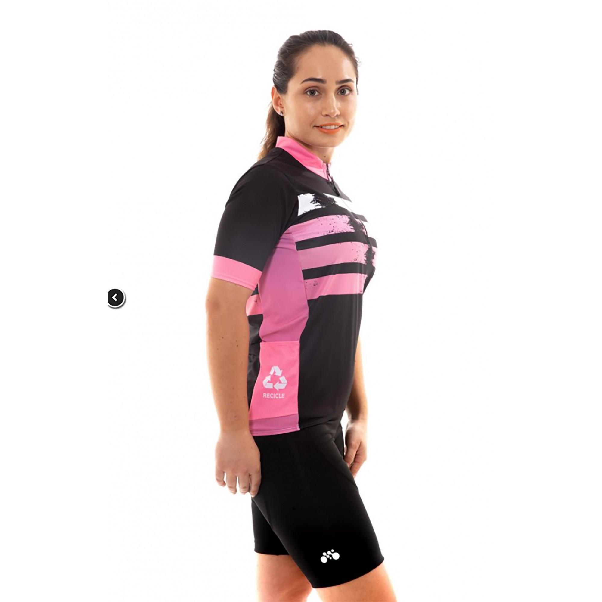 Camiseta Ciclismo Preto/rosa First - Mynd