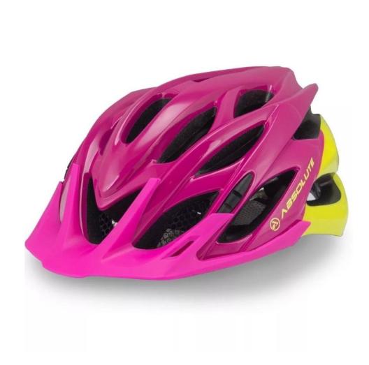 Capacete Ciclismo Mia Rosa/Amarelo C/ Led Tamanho P/M - Absolute