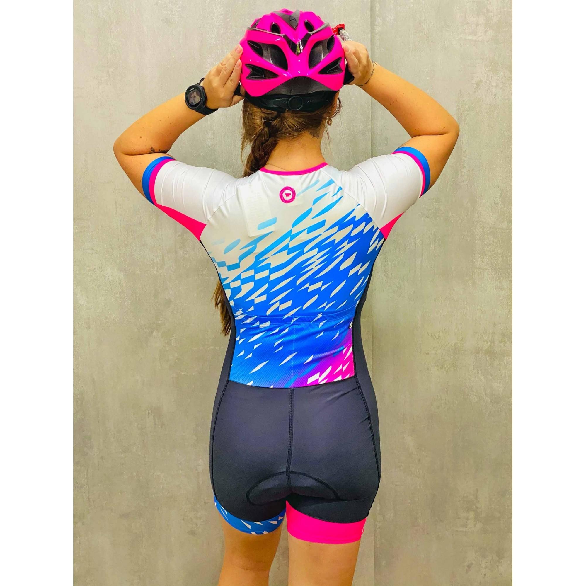 Macaquinho Ciclismo Aqua Preto/Branco/Azul/Rosa - Ciclopp