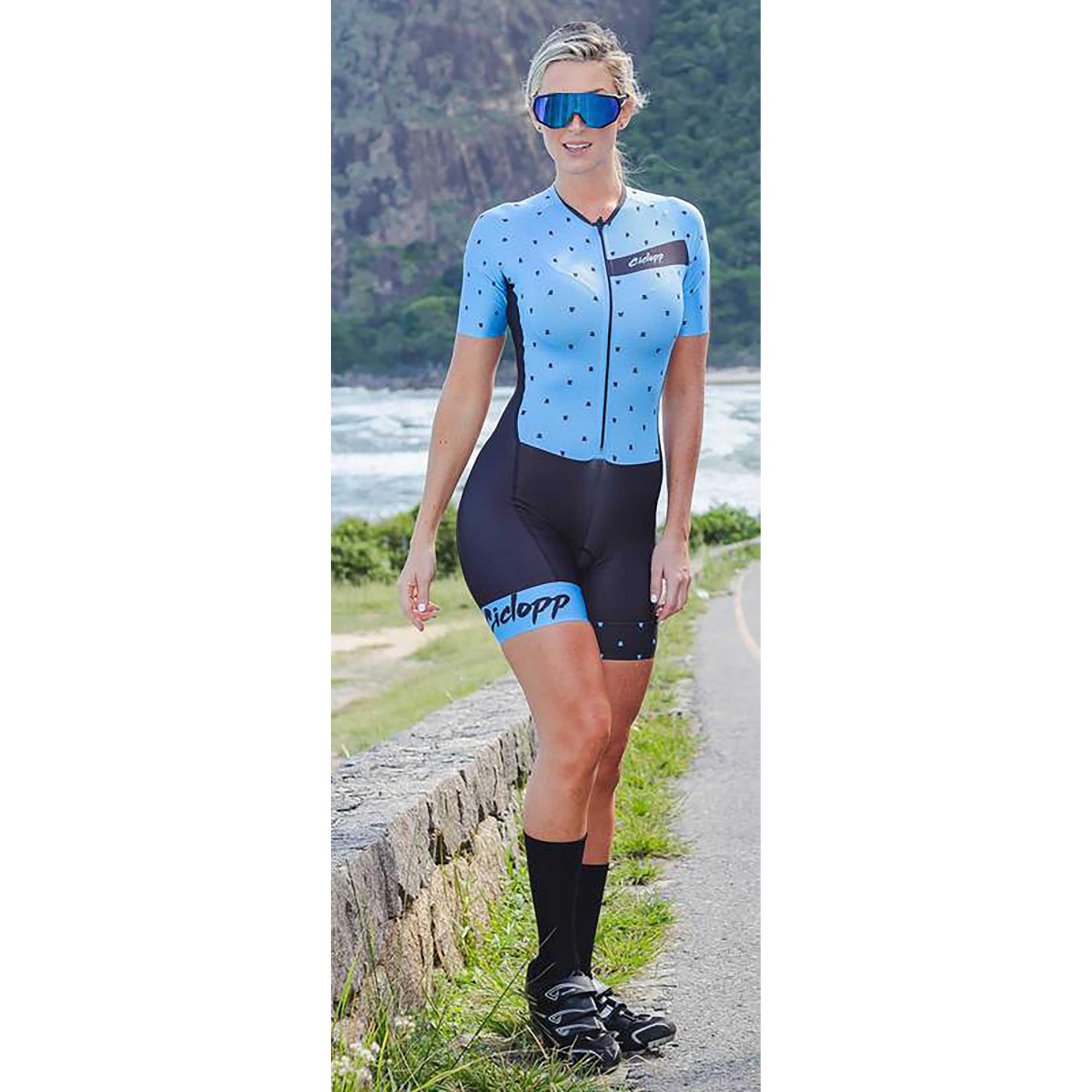 Macaquinho Ciclismo Essential Preto/Azul - Ciclopp