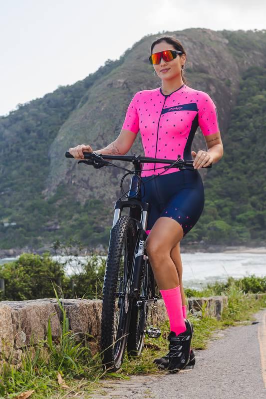 Macaquinho Ciclismo Essential Preto/Pink - Ciclopp