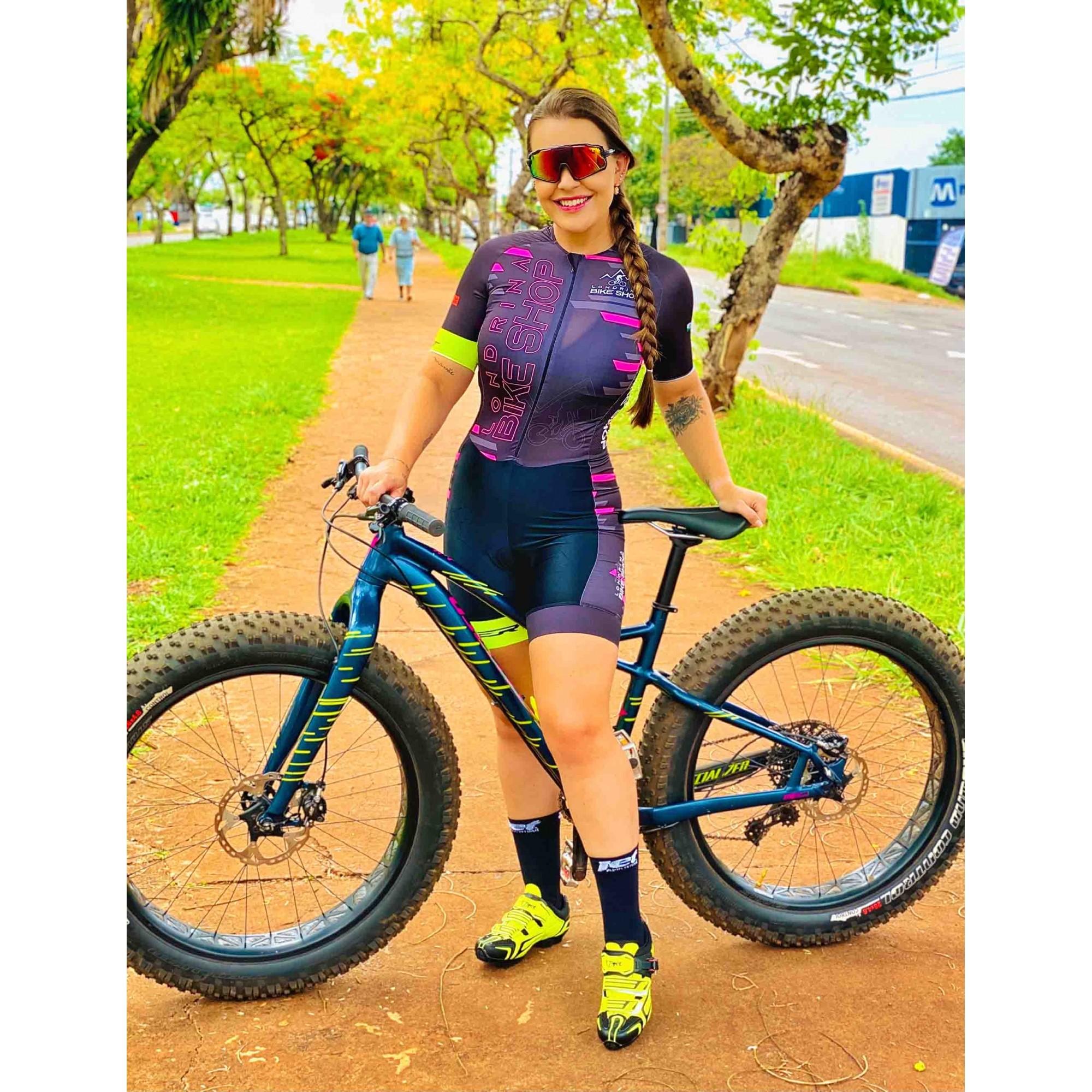 Macaquinho Ciclismo Feminino Elite Londrina Bike Shop Preto/Rosa - ERT