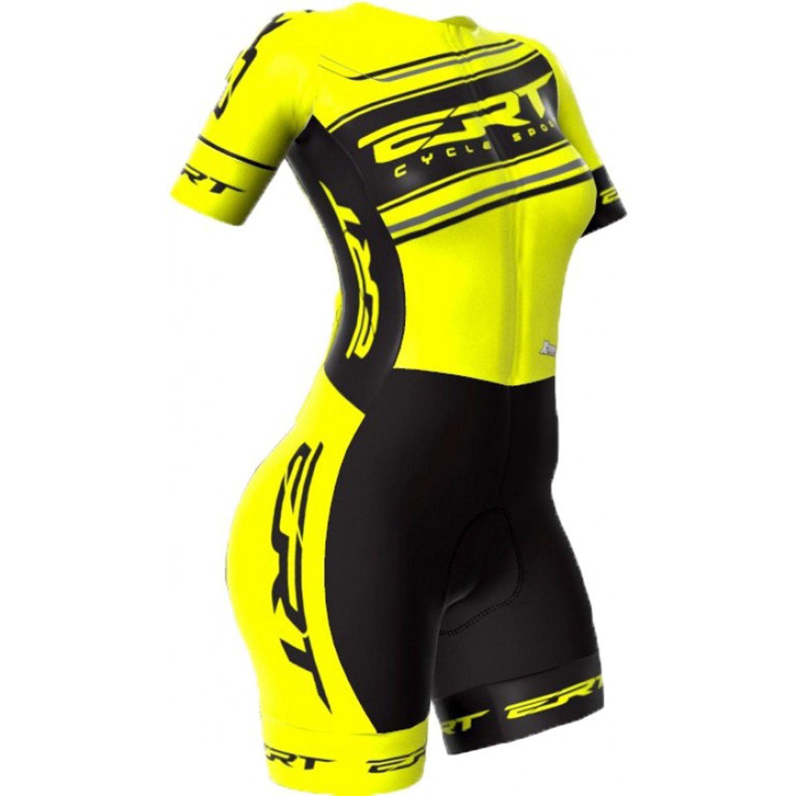 Macaquinho Ciclismo Feminino Premium Pro Team Preto/Amarelo(FORRO GEL) - ERT
