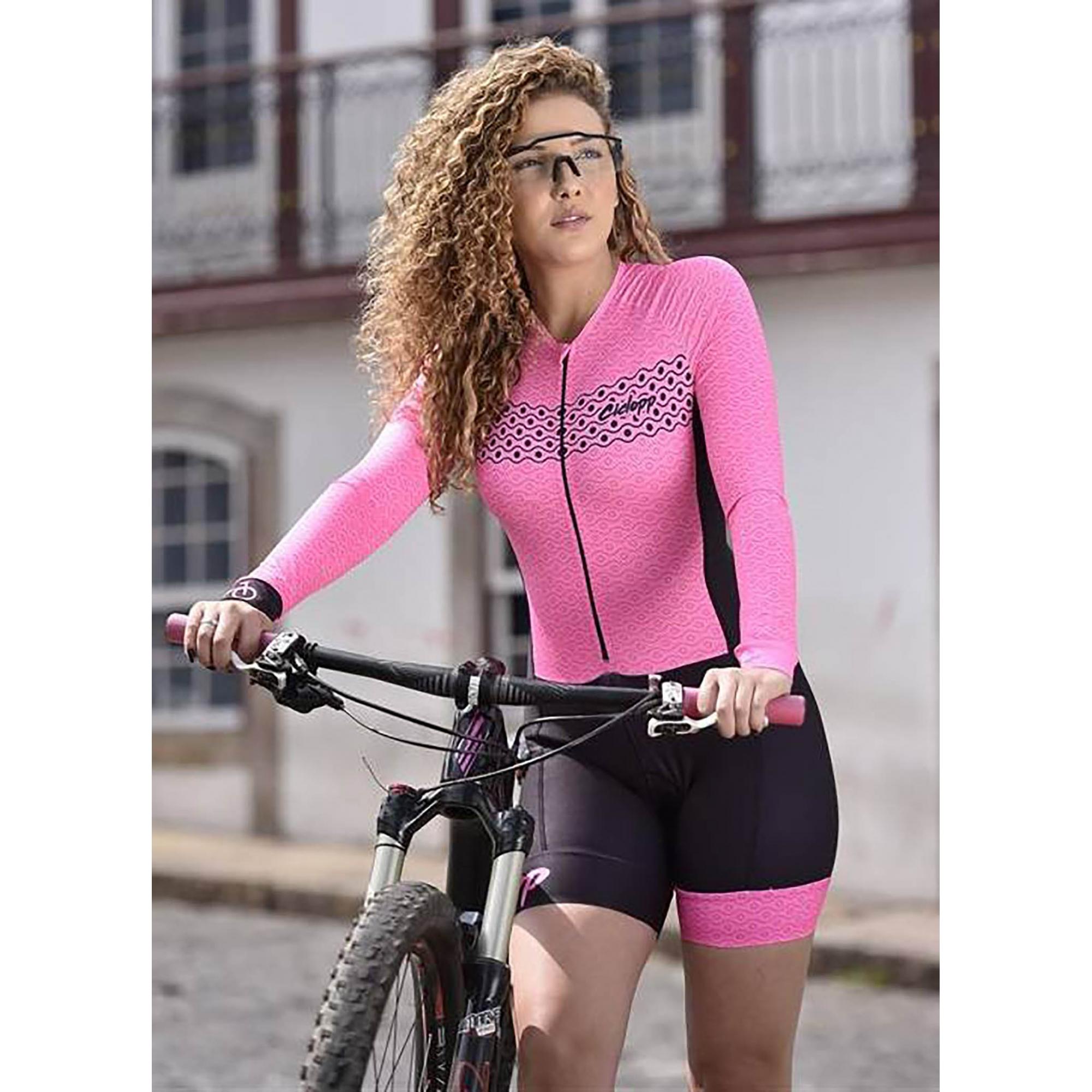 Macaquinho Ciclismo Oslo Rosa Fluor  Manga Longa - Ciclopp
