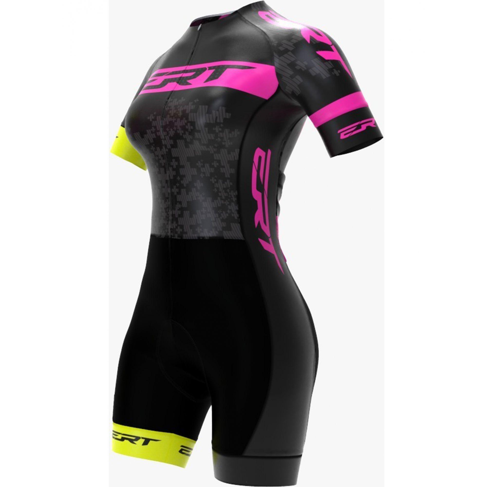 Macaquinho Ciclismo Preto/Rosa Forro Dual Pro- ERT