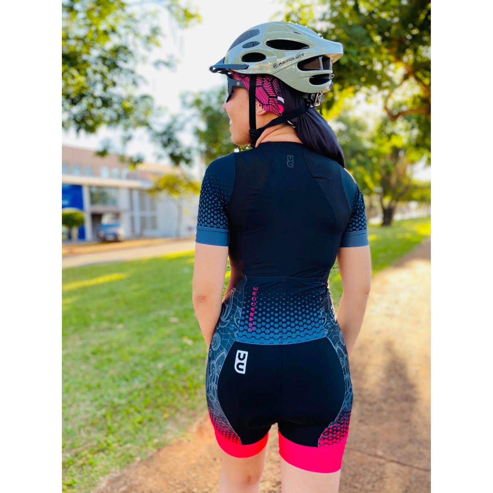 Macaquinho Ciclismo + TOP Pink Neon - Ultra Cor
