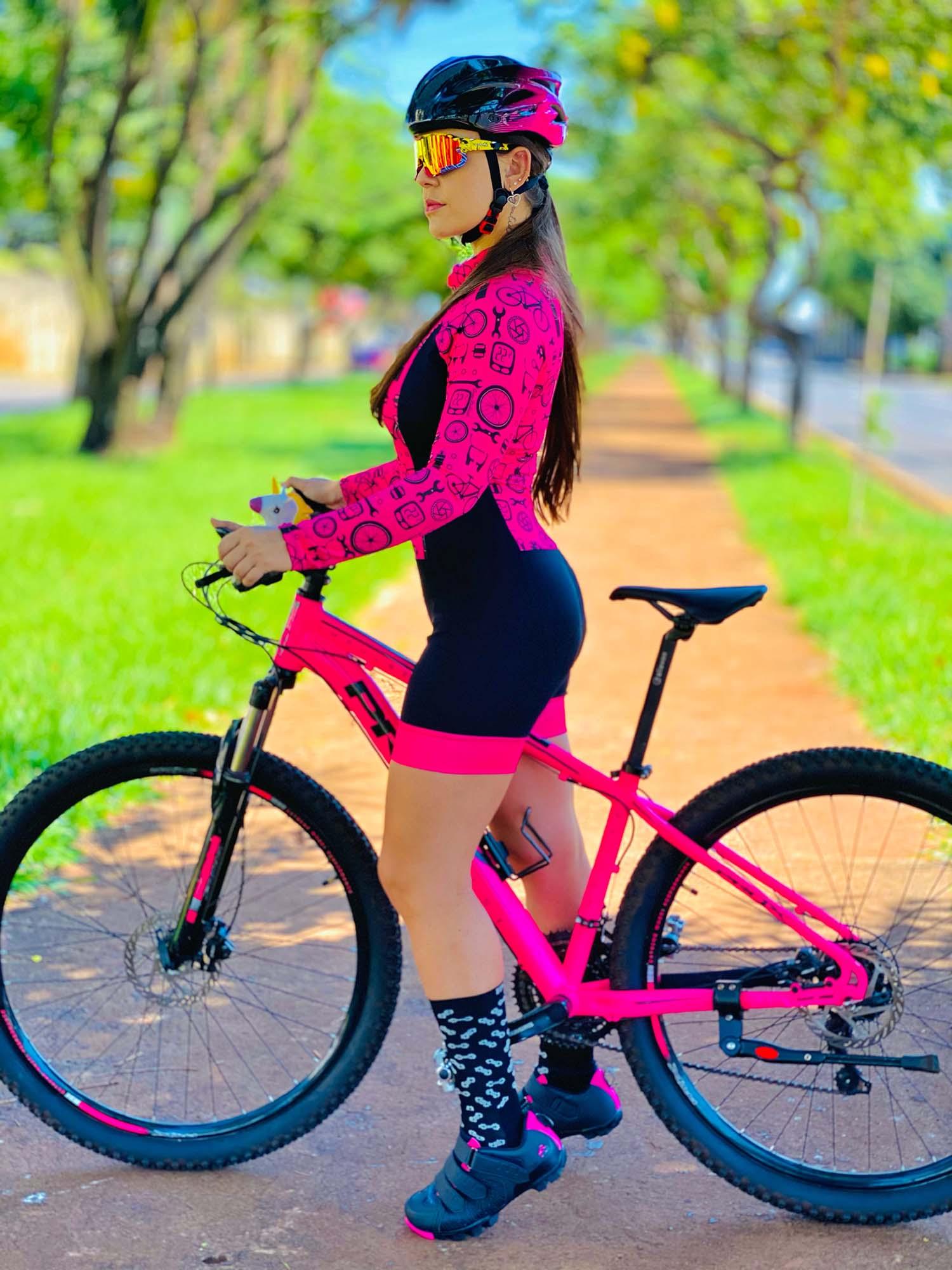 Macaquinho Manga Longa Feminino Ciclismo Bike Revisão - Giro Radical